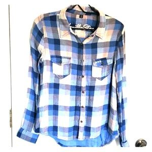 Blue and Tan Flannel Shirt